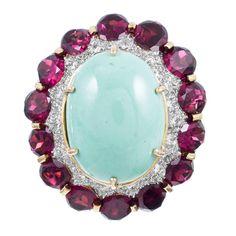 Henry Dunay Colossal Turquoise Garnet Diamond Ring
