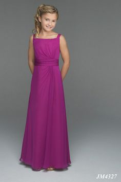 A-Line Strapless Empire Waist Pleated Long Chiffon Spaghetti Straps Purple Junior Bridesmaid Dresses