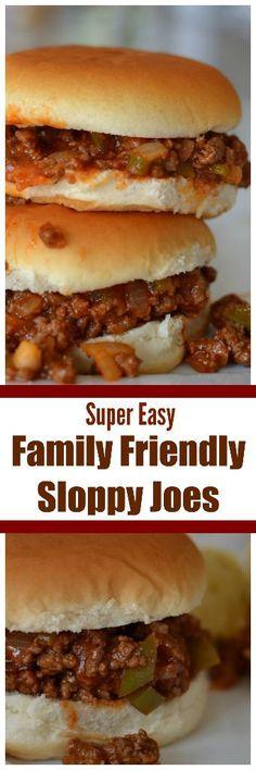 via Super Easy Family Friendly Sloppy Joes Easy Skillet Meals, Easy Meals, Skillet Recipes, Weeknight Meals, Chicken Recipes, Hamburger Recipes, Hamburger Dishes, Meatball Recipes, Homemade Sloppy Joes
