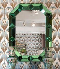 Bungalow 5 Furniture | New | ROMANO WALL MIRROR, GREEN MIRROR