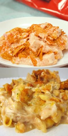 This amazing Doritos Chicken Casserole is the perfect easy dinner for busy weeknights. Easy Casserole Recipes, Crockpot Recipes, Healthy Recipes, Healthy Desserts, Party Desserts, Healthy Food, Good Recipes, Doritos Recipes, Velveeta Recipes