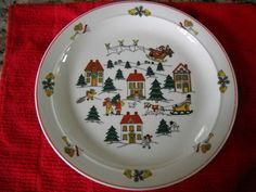 "4 (four) ""Joy of Christmas"" Classic Collectors Studio Dinner Deep Plates 10 1/2"" 