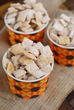 Butter Buddies       9 cups Chex (corn or rice)      1 cup butterscotch chips      1/2 cup creamy peanut butter      4 tablespoons unsalted butter      1 teaspoon vanilla      1 1/2 cups powdered sugar
