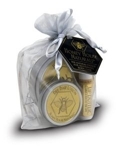 Honey House Naturals Bee Bar® Large Gift Bag set Lavender Fragrance by Honey House Naturals. $24.99. Bee Bar® offers soothing relief to dry skin. Honey House products are made without water, so they won't dry out and will last several months, even with daily use.. Great stocking stuffer. Makes a great gift. Our Bee Bar® gift bag comes attractively attractively packaged in gold organza bag. Honey House Naturals Bee Bar® gift bag contains a large 2 oz. Lavender lotion tin ...