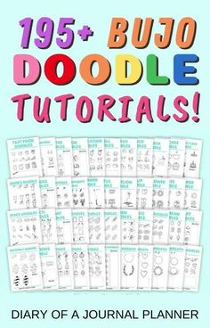 Never run out ofdoodle ideas for your bullet journal with this ultimate printable bundle with 195+ bullet journal doodle tutorials! #bulletjournaldoodles #doodles #bujo #printables