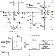 Circuit diagram of power amplifier built using power transistors. Power supply schematic provided, use heatsink to prevent overheat on the transistors. Electronic Circuit Projects, Electronic Engineering, Diy Electronics, Electronics Projects, Q10, Hifi Amplifier, Power Supply Circuit, Diagram Design, Circuit Design