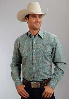 Men's Stetson Snap Shirt in Paisley