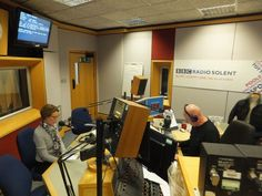 Pauline Rowson waiting to go on air BBC Radio Solent with Julian Clegg Jan 2016