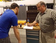 TCC's Rick Dyer offers hands-on, individualized support to his students, who are employees of IMS Gear, Sumitomo, and Busch LLC.