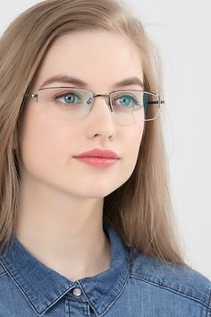 Gunmetal rectangle eyeglasses available in variety of colors to match any outfit. These stylish semi-rimless, large sized metal eyeglasses include free single-vision prescription lenses, a case and a cleaning cloth. Gold Rimmed Glasses, Minneapolis, Glasses Trends, Womens Glasses, Ladies Glasses, Mens Glasses Frames, Rimless Glasses, Thick Girl Fashion, Oval Faces