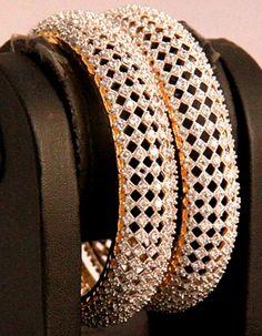 #Bangles, #Bracelets & #Kadas - American Diamond Bangles Costs Rs. 4,350. #Jewellery. BUY it here: http://www.artisangilt.com/catalog/product/view/id/23707/s/american-diamond-bangles/category/150?ref=pin