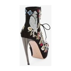 Medieval Embroidered Horn Heel Bootie ❤ liked on Polyvore featuring shoes, boots, ankle booties, ankle boots, short boots, ankle bootie boots, bootie boots and embroidered boots