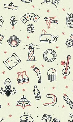 3 Free Line Art Patterns: Ahoy by Lorena G -  This fun pattern depicts nautical elements: mermaids, happy swallows, hatch windows, card decks, whales, lighthouses, acoustic guitars, pearls in shells, octopuses, and hibiscus flowers. #Pattern #Inspiration / Ideas / Design / Illustration / Line Art / Simple / Sea Theme /