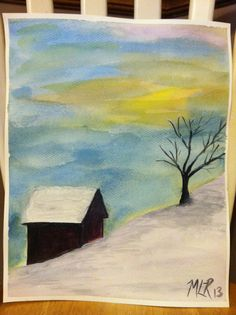 Watercolor. Winter by MLR 2013 #Watercolor #painting To contact MLR for artwork, please email ArtHappyStudios@yahoo.com