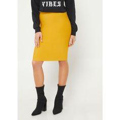 Mustard Bodycon Midi Skirt ❤ liked on Polyvore featuring skirts, knit skirt, body con skirt, mid-calf skirt, elastic waistband skirt and mustard midi skirt
