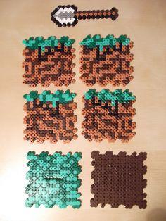Minecraft perler bead cube unassembled.