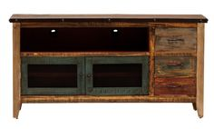 The Antique TV Stand adds functional storage to a living room or entertainment room. The rustic finish features distressed color throughout for an eye-catching piece.