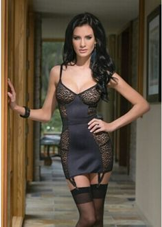 d49d591719 Leopard mesh chemise with lycra and powernet paneling and underwire cups.  Chemise features elasticized waist
