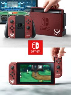 I made a skin design for the Nintendo Switch for all 3 teams! - Nintendo Switch Games - Trending Nintendo Switch Games - I made a skin design for the Nintendo Switch for all 3 teams! Mundo Dos Games, Nintendo Switch Accessories, Custom Consoles, Caleb, Nintendo Switch Games, Mario, Cute Gif, Nintendo Consoles, Nintendo Controller