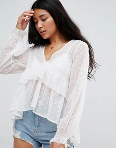 ASOS Swing Blouse with V-neck and Ruffle Detail in Dobby $48.00