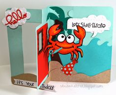 Kelly Booth using the Pop it Ups Rectangle Pull Card, Rocky the Crab, Beach Edges and Palm Tree & Pail dies by Karen Burniston for Elizabeth Craft Designs. - Lovin The Life I Color: I'm a Guest today for Die Cut Diva's!