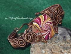 Copper Woven Wire Helix Bracelet with by ggChambersDesigns on Etsy