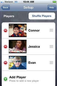 Sharing Timer ($0.99) Features: * WHO'S PLAYING NOW: This section of the Play Screen shows a picture and name of the current player, a picture and name of the current activity, and the amount of time remaining in the turn. * WHO'S UP NEXT: This section shows the child or children next in line for a turn. * TIMERS: Animated timers show kids how much time remains in the current turn. As each turn ends, sound effects help signal that it's time to share. * START: * PAUSE: * SETUP: