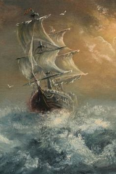 Coffin ships: the immigration ships that sailed to Grosse Isle, Canada's immigration point. Old Sailing Ships, Sea Of Thieves, Ocean Pictures, Sailboat Painting, Ship Drawing, Ghost Ship, Ship Paintings, Ship Art, Artwork