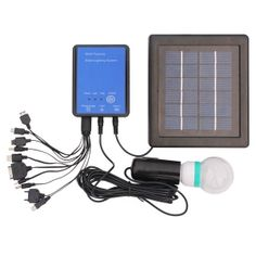 UPE-SLS06 Solar Lighting System Product Description: • Complete kit includes everything you need to hook up solar and lighting. • Great for power usage in remote area and outdoor activities. FEATURES Kit includes: solar panel, controller box, LED lamp, charge cable, ground stake, mounting bracket Solar panel:2W       Battery: li-ion,4000mAh Lamp:0.8W LED     Working time:12hrs