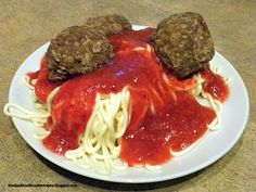April Fool's Spaghetti and meatballs.  AKA cake, frosting, strawberry sauce, & chocolate cookies