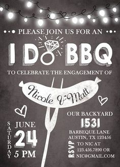 Items similar to I do BBQ Engagement Party Invitation Rehearsal Dinner Engagement Dinner BBQ invitation bbq invite Rustic Chalkboard Chalk Digital PRINTABLE on Etsy Engagement Party Planning, Engagement Party Invitations, Wedding Engagement, Our Wedding, Wedding Planning, Engagement Parties, Elegant Wedding, Engagement Photos, Wedding Ideas