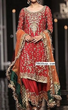 Red Crinkle Chiffon Suit   Buy Pakistani Fashion Dresses and Clothing Online in USA, UK Shadi Dresses, Pakistani Formal Dresses, Pakistani Outfits, Indian Outfits, Indian Gowns, Pakistani Sharara, Mehendi Outfits, Walima, Indian Clothes