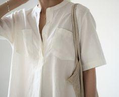 Short sleeved shirt. Via Modern Hepburn