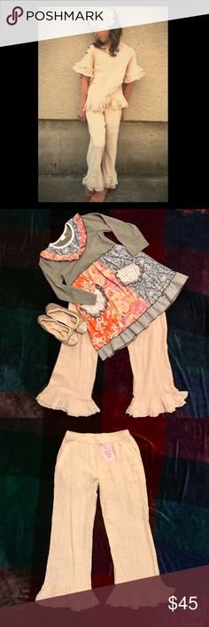 M.L. Kids ruffle linen pants with embroidered lace M.L. Kids ruffle linen pants with embroidered lace trim in natural color kids size 14 NWT. This is for the pants only. Reasonable offers are always welcome to negotiate price..bundles of 3 get 15% off! M L Kids Bottoms