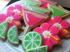 Summer Cocktail Party decorated cookies by peapodscookies