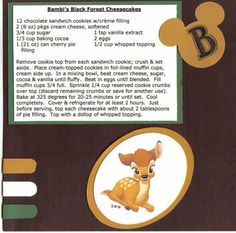 Bambi`s Blackforest Cheesecakes Disney Recipe Swap by redwood - Cards and Paper Crafts at Splitcoaststampers Disney Themed Food, Disney Inspired Food, Disney Food, Retro Recipes, Old Recipes, Vintage Recipes, Recipies, Jelly Recipes, Comida Disney