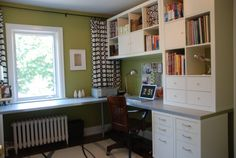 Built-in desk idea for home office?  Love that the pieces are all from IKEA...