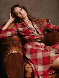 A rustic plaid pattern and buttoned barrel cuffs add a Western feel. #RLBlueLabel