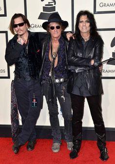 Premios Grammy 2016: Johnny Depp, Joe Perry y Alice Cooper