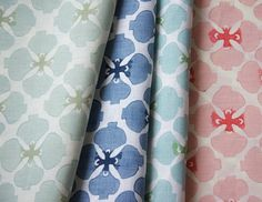 Sakura Collection in Light Mineral, Denim, Sea and Blossom Stencil Fabric, Fabric Wallpaper, Stencils, Bedroom Drapes, Curtains, Master Bedroom, Asian Fabric, Gorgeous Fabrics, Printing On Fabric