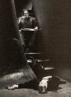 Boris Karloff takes a lunch break during filming of Son of Frankenstein (1939). On the floor is Edgar Norton.