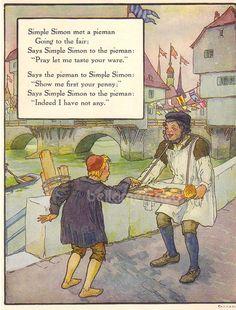 1920s Mother Goose Simple Simon Met a Pieman Print Illustration by Frederick Richardson Vintage Book Art