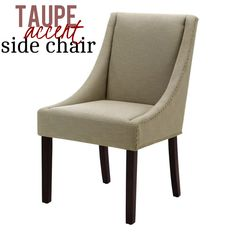 This sleek chair features warm espresso finished legs, light taupe linen upholstery, antique bronze nail heads, solid wood frame, high density foam seat and durable nylon webbing for utmost comfort and striking appeal.
