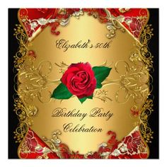 LARGE 50th Birthday Party Gold Black Red Roses Custom Invites