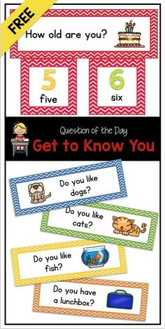 Free Question Of The Day Get To Know You Pocket Chart Cards Free Back To School Questions Of The Day For Preschool Kindergarten And First Grade Perfect For Attendance And Graphing Kindergarten First Day, Kindergarten Classroom, Preschool Kindergarten, Preschool Activities, Classroom Ideas, Starting Kindergarten, Preschool Attendance Ideas, Preschool Sign In Ideas, Preschool Procedures
