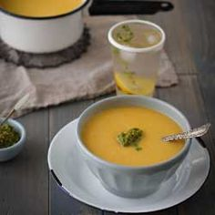 Sweet and silky roasted butternut squash soup paired with a spicy green romesco sauce. Pure fall flavor perfection! {recipe}