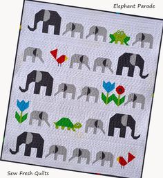 The Elephant Parade Baby Quilt Pattern is created mostly by piecing together the elephants and other animals and appliqueing on their little eyes. If you know an expectant mom that loves the circus or a baby who is big on jungle friends, this adorabl