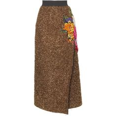 Dolce & Gabbana Eyelash Lurex Wrap Effect Skirt (19.810 BRL) ❤ liked on Polyvore featuring skirts, dolce & gabbana, brown skirt, high-waist skirt, dolce gabbana skirt, wraparound skirt and wrap around skirt