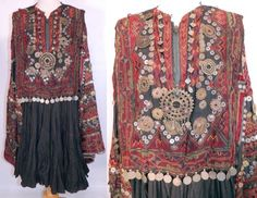 Vintage Swat Valley Kohistan Pakistan Coin Beaded Embroidery Ethnic Tribal Dress Ethnic Fashion, Hijab Fashion, Fashion Outfits, Womens Fashion, Tribal Dress, Ethnic Dress, Big Dresses, Afghan Dresses, Plus Size Shirts