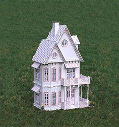 Gingerbread Victorian Dollhouse kit, Doll House kit.  Heart motif, wood.. $110.00, via Etsy.